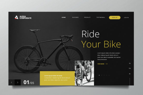 Cyclist Web Header PSD and AI Template Graphic UX and UI Kits By alexacrib83