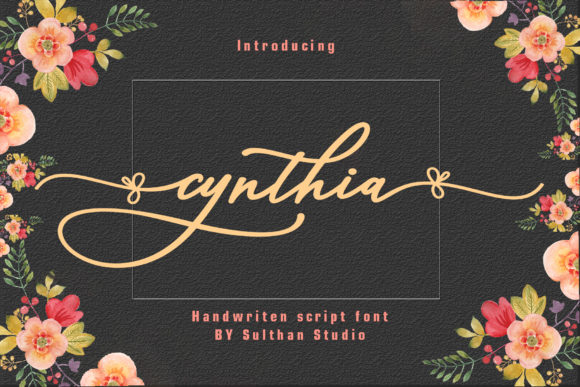 Print on Demand: Cynthia Script Script & Handwritten Font By Sulthan Studio