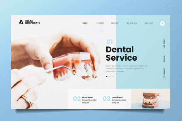 Dental Clinic Web Header PSD and AI Graphic Landing Page Templates By alexacrib83