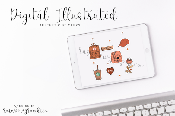 Print on Demand: Digital Aesthetic Stickers Gráfico Ilustraciones Por RainbowGraphicx