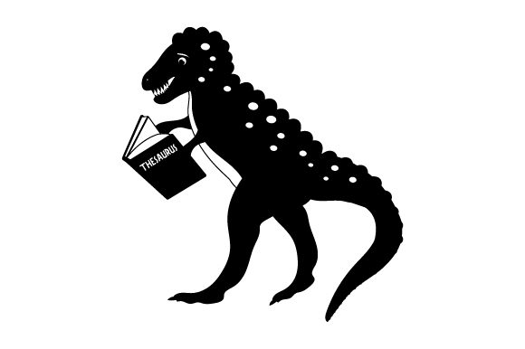 Download Free Dinosaur Reading Thesaurus Svg Cut File By Creative Fabrica for Cricut Explore, Silhouette and other cutting machines.