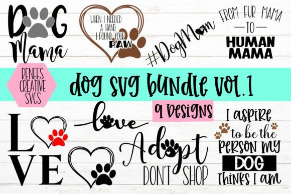 Print on Demand: Dog Bundle Vol 1 Graphic Crafts By ReneesCreativeSVGs