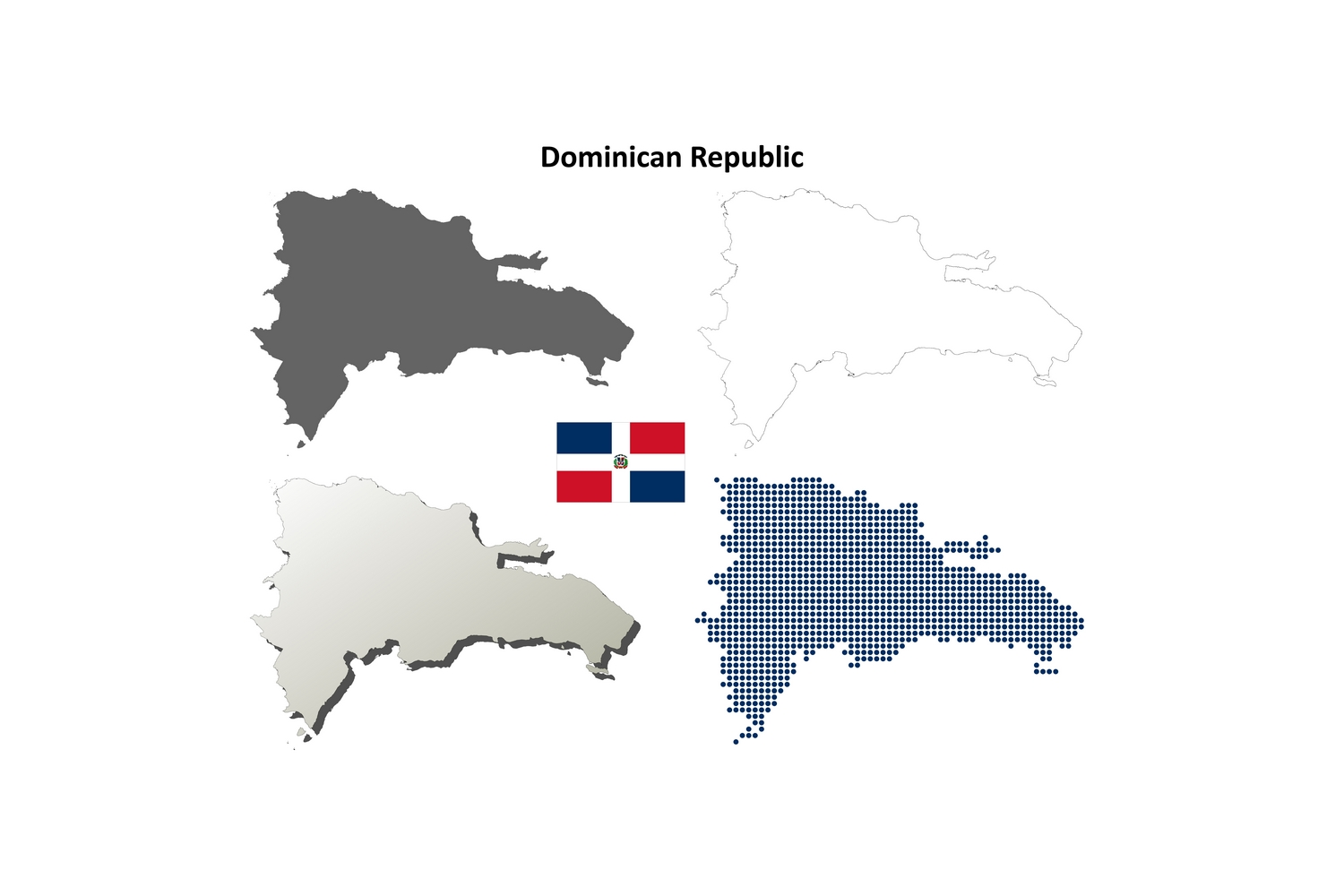 Download Free Dominican Republic Outline Map Set Graphic By Davidzydd for Cricut Explore, Silhouette and other cutting machines.