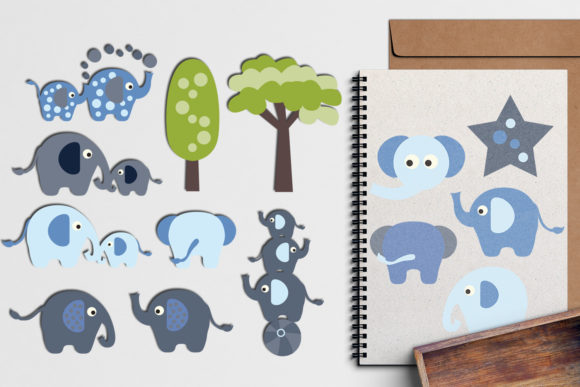 Print on Demand: Elephant Blue Graphic Illustrations By Revidevi