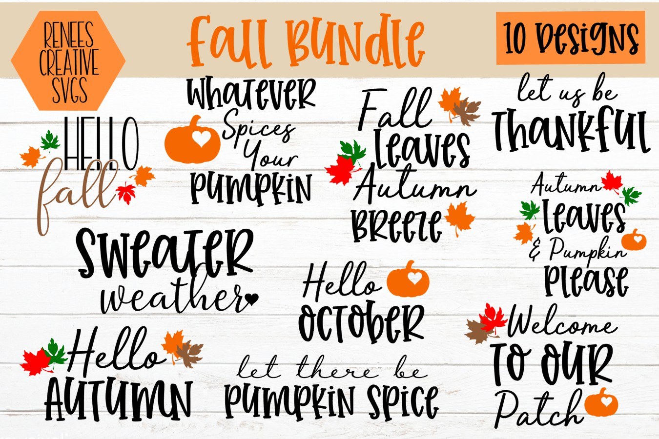 Download Free Fall Bundle Cut File Graphic By Reneescreativesvgs Creative for Cricut Explore, Silhouette and other cutting machines.