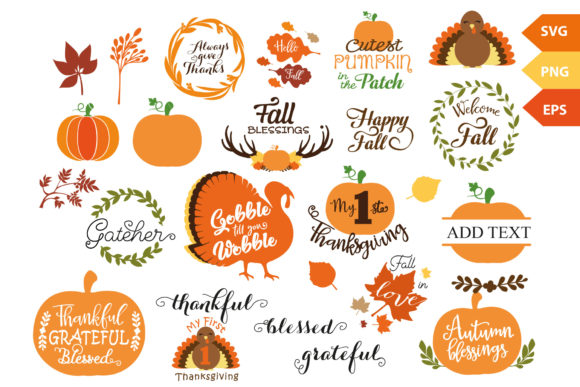 Download Free Fall Thanksgiving Vector Svg Bundle Graphic By Adlydigital for Cricut Explore, Silhouette and other cutting machines.