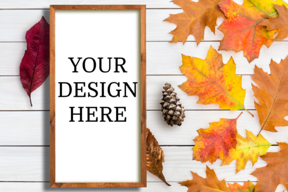 Download Free Fall Wooden Sign Vertical Mock Up Graphic By Mockup Venue for Cricut Explore, Silhouette and other cutting machines.