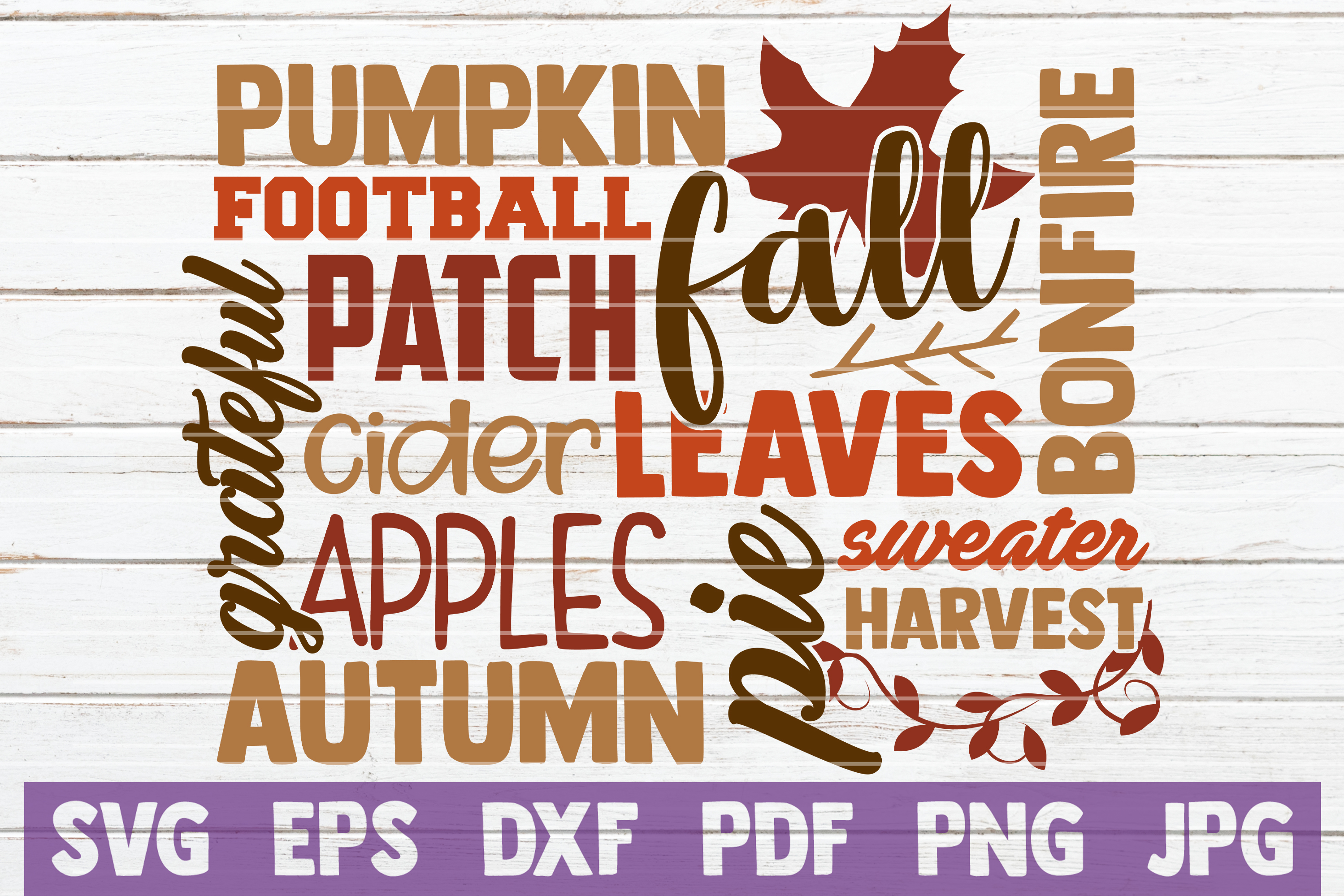 Download Free Fall Word Art Graphic By Mintymarshmallows Creative Fabrica for Cricut Explore, Silhouette and other cutting machines.