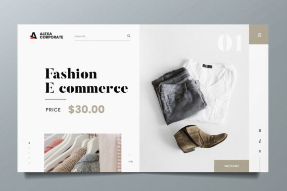 Fashion Ecommerce Web Header PSD and AI Graphic UX and UI Kits By alexacrib83