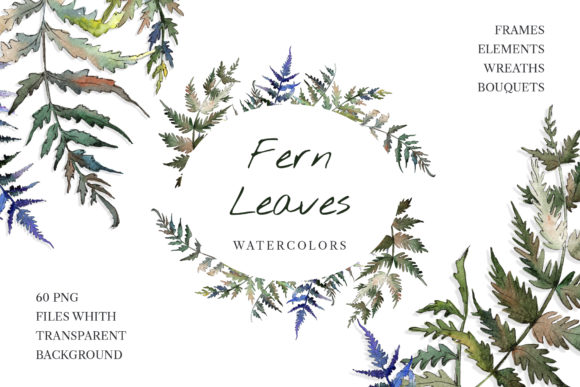 Print on Demand: Fern Leaf Clipart Watercolor Png Graphic Illustrations By MyStocks
