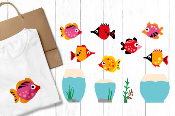 Print on Demand: Fish and Aquarium Graphic Illustrations By Revidevi - Image 1