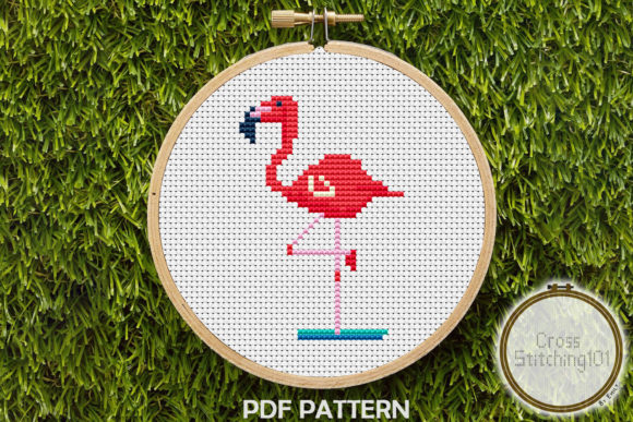 Download Free Flamingo Modern Cross Stitch Pattern Graphic By for Cricut Explore, Silhouette and other cutting machines.