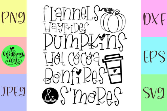Download Free Flannels Hayrides Pumpkins Hot Cocoa Graphic By Midmagart for Cricut Explore, Silhouette and other cutting machines.