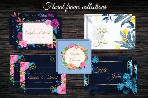 Floral Invitation Collection Graphic Crafts By AllmoStudio