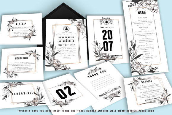 Floral Modern Wedding Invitation Suite Graphic Graphic Templates By sahlanrizky116