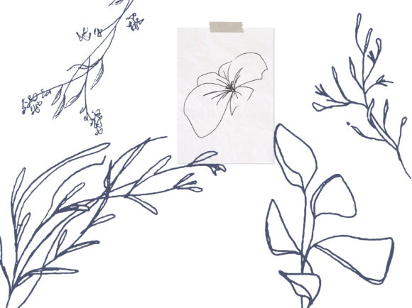 Download Free Floral Pencil Drawing One Line Art Graphic By Primafox Design for Cricut Explore, Silhouette and other cutting machines.