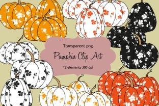 Download Free Floral Pumpkin Clip Art Graphic By Anines Atelier Creative Fabrica for Cricut Explore, Silhouette and other cutting machines.