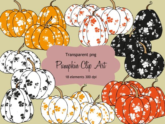 Print on Demand: Floral Pumpkin Clip Art Graphic Illustrations By Anines Atelier