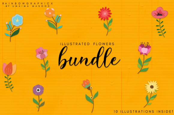 Print on Demand: Flower Bundle Graphic Illustrations By RainbowGraphicx