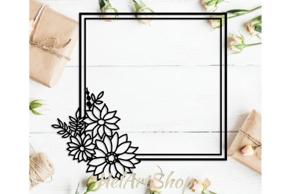 Download Free Flower Square Frame Graphic By Helartshop Creative Fabrica for Cricut Explore, Silhouette and other cutting machines.