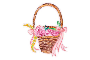 Flower Basket in Watercolor Craft Design By Creative Fabrica Crafts