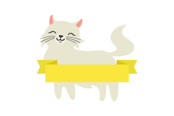 Download Free Fluffy Cat With Blank Banner Archivos De Corte Svg Por Creative for Cricut Explore, Silhouette and other cutting machines.