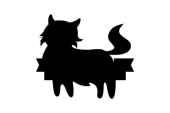 Fluffy Cat with Blank Banner