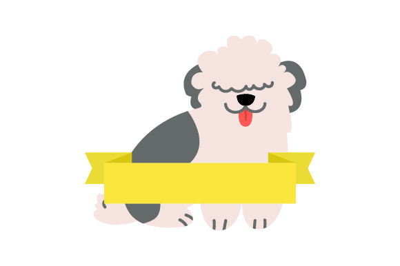 Fluffy Dog with Blank Banner Craft Design By Creative Fabrica Crafts