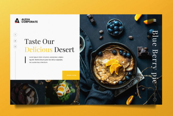 Food Web Header PSD and AI Graphic UX and UI Kits By alexacrib83