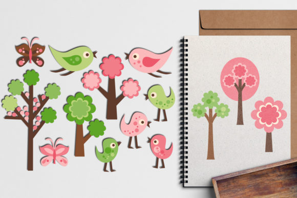 Forest Trees and Birds Graphic By Revidevi