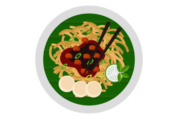 Download Free Fried Noodle With Sausage Plate Icon Graphic By Graphicrun123 for Cricut Explore, Silhouette and other cutting machines.