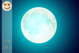 Print on Demand: Full Moon over Blue Night Sky Background Graphic Illustrations By TasiPas