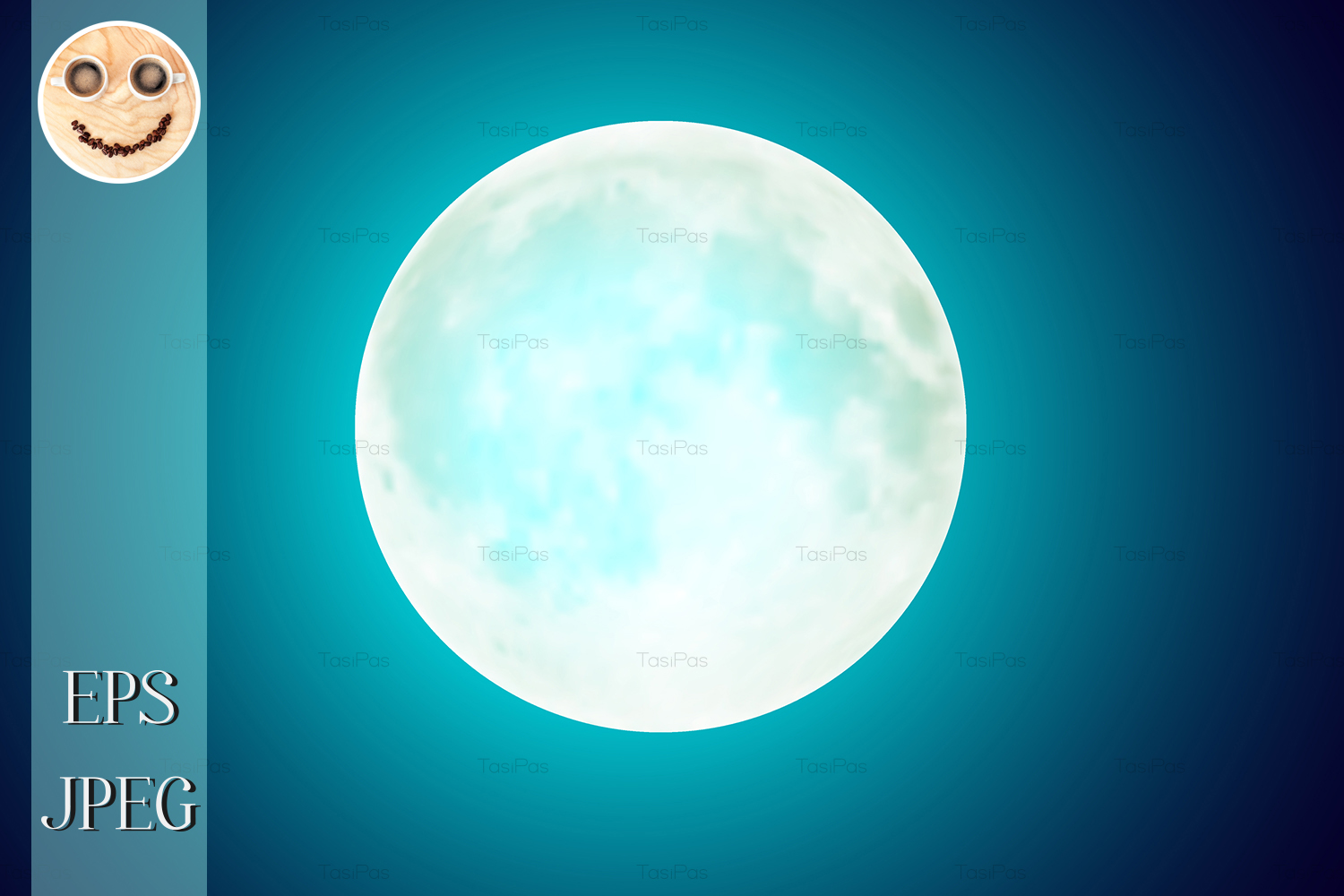 Download Free Full Moon Over Blue Night Sky Background Graphic By Tasipas for Cricut Explore, Silhouette and other cutting machines.