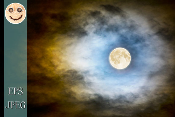 Full Moon over Dark Cloudy Sky Graphic By TasiPas