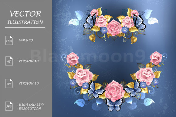Garland of Pink Roses Graphic Illustrations By Blackmoon9