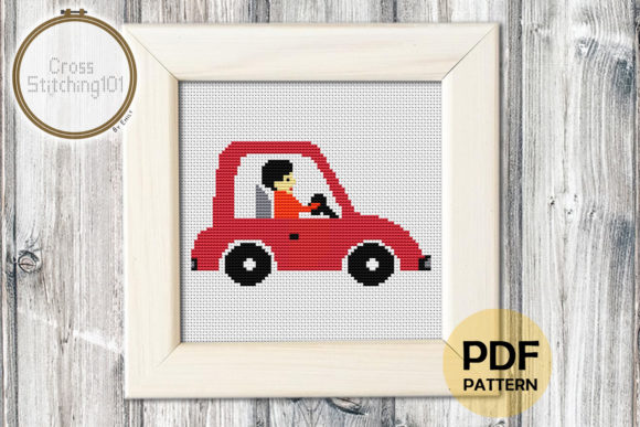 Download Free Gentleman Driving Car Cross Stitch Graphic By Crossstitching101 for Cricut Explore, Silhouette and other cutting machines.