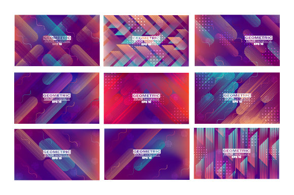 Print on Demand: Geometric Background Set Stright Stripes Graphic Backgrounds By iop_micro