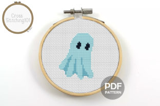 Download Free Ghost Modern Cross Stitch Pattern Grafico Por Crossstitching101 for Cricut Explore, Silhouette and other cutting machines.