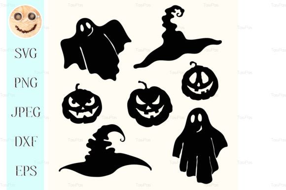 Download Free Ghost Pumpkin Lantern Graphic By Tasipas Creative Fabrica for Cricut Explore, Silhouette and other cutting machines.