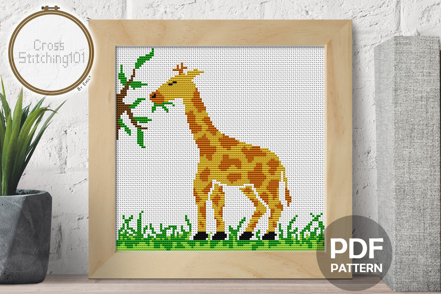 Download Free Giraffe Eating Modern Cross Stitch Graphic By Crossstitching101 for Cricut Explore, Silhouette and other cutting machines.