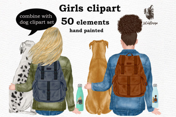 Girls Clipart, Best Friend Clipart Graphic Illustrations By LeCoqDesign - Image 2