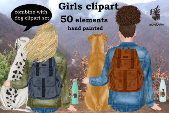 Girls Clipart, Best Friend Clipart Gráfico Ilustraciones Por LeCoqDesign
