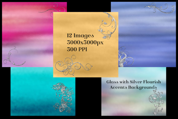 Print on Demand: Glass with Silver Accents Backgrounds Graphic Backgrounds By SapphireXDesigns - Image 2