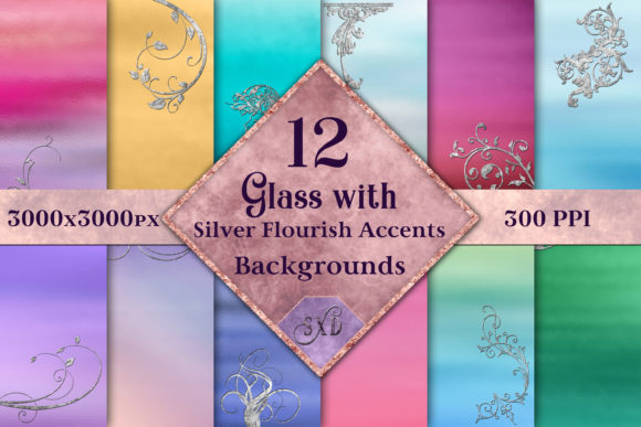 Print on Demand: Glass with Silver Accents Backgrounds Graphic Backgrounds By SapphireXDesigns - Image 1