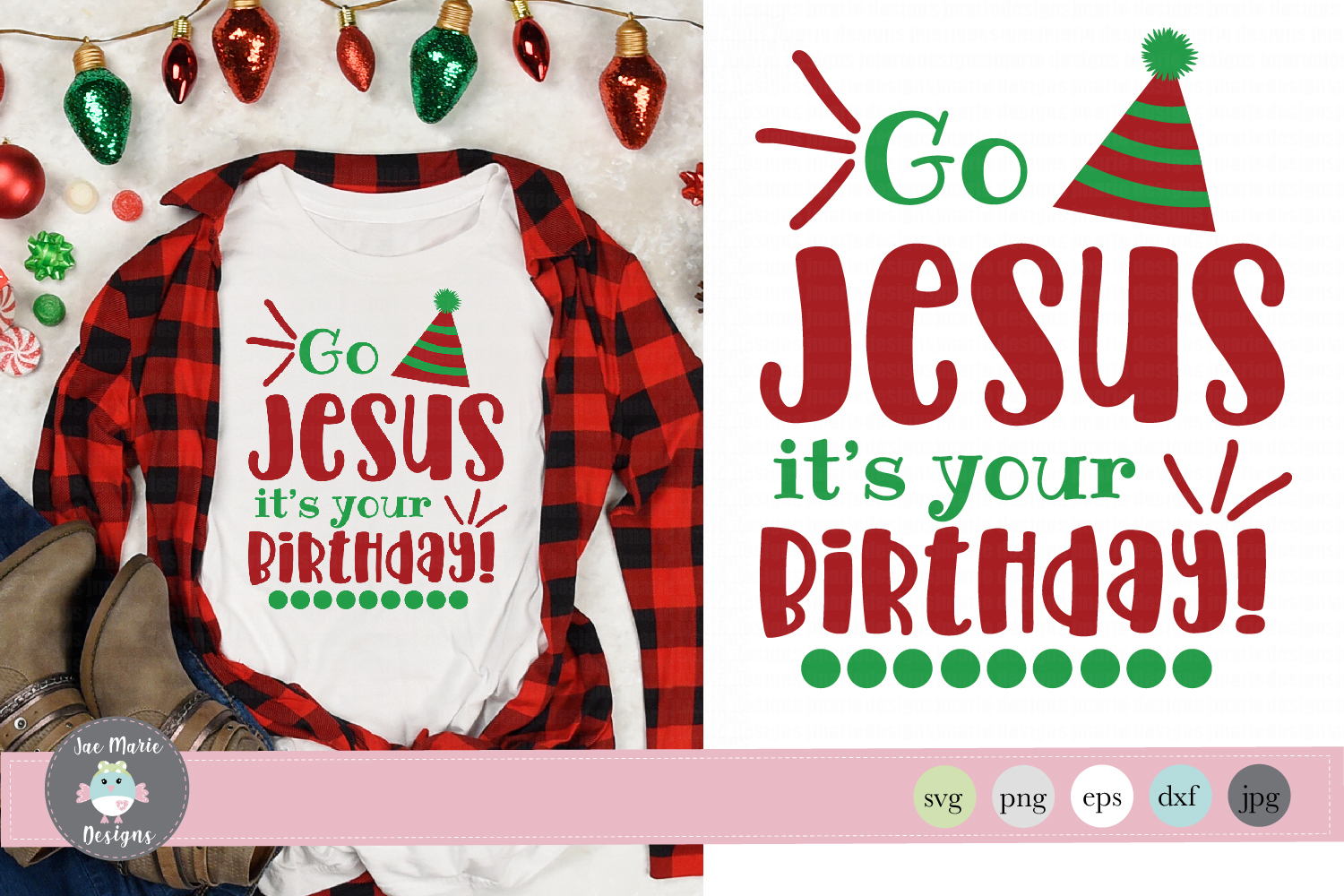 Download Free Go Jesus Its Your Birthday Christmas Graphic By Thejaemarie for Cricut Explore, Silhouette and other cutting machines.