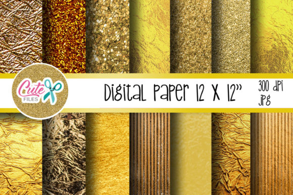 Gold Digital Paper Graphic Textures By Cute files