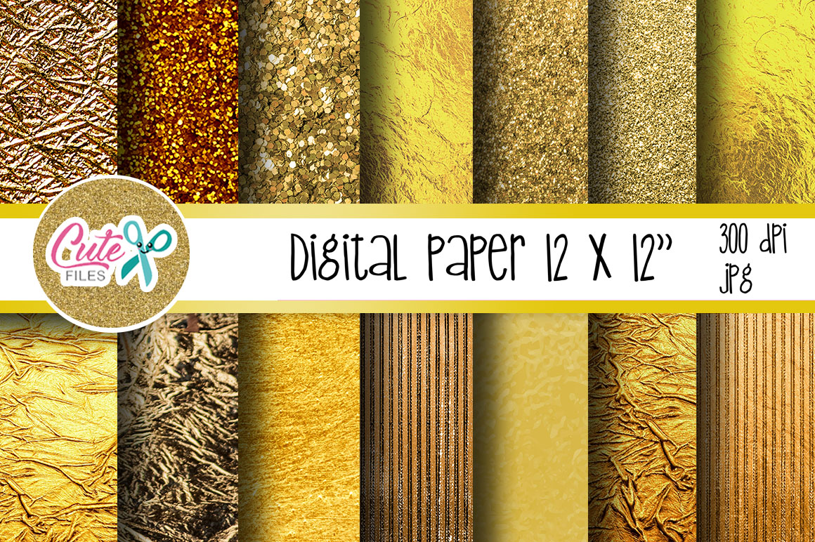 Download Free Gold Digital Paper Graphic By Cute Files Creative Fabrica for Cricut Explore, Silhouette and other cutting machines.