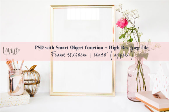 Print on Demand: Gold Frame Mockup  Graphic Product Mockups By lovalu