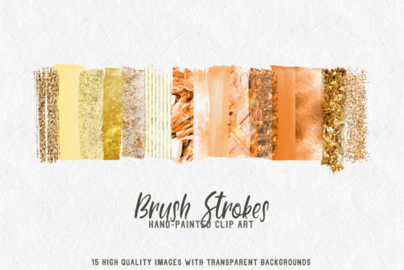 Print on Demand: Gold Orange Brush Strokes Graphic Textures By lovalu