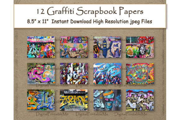 Print on Demand: Graffiti Digital Paper Print 8.5 Gráfico Crafts Por DigitalPrintableMe